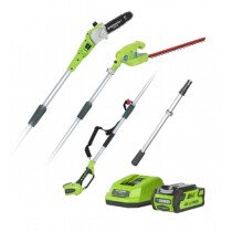 "Greenworks GWG40PSHK2 40V 20cm (8"") Cordless Pole Pruner & 51cm (20"") Cordless Hedgetrimmer with 2Ah Battery & Charger"