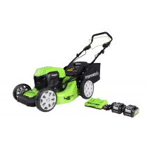 Greenworks GWGD24X2LM46SK4X  48V 46cm Brushless Self Propelled Lawnmower with Two 24V 4Ah Batteries & Charger