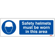 """JSP HBJ081-000-000 Rigid Plastic """"Safety Helmets Must Be Worn In This Area"""" Safety Sign 600x200mm"""