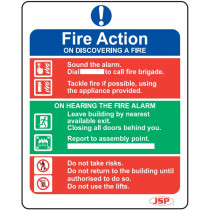 "JSP HBJ281-000-000 Rigid Plastic ""Fire Action"" Safety Sign 250x200mm"