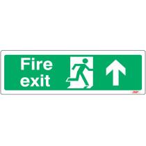 "JSP JSP106 Rigid Plastic ""Fire Exit"" Arrow Up +Running Man Safety Sign 600x200mm"