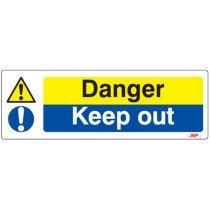 """JSP HBJ071-000-000 Rigid Plastic """"Danger Keep Out"""" Safety Sign 600x200mm"""