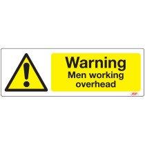 "JSP Rigid Plastic ""Danger Men Working Overhead"" Rigid Plastic Safety Sign 600x200mm"