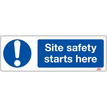 "JSP HBJ201-000-000 Rigid Plastic ""Site Safety Starts Here"" Safety Sign 600x200mm"