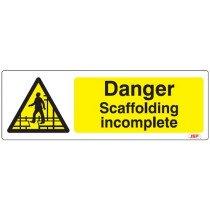 """JSP Rigid Plastic """"Danger Scaffolding Incomplete"""" Safety Sign 600x200mm"""