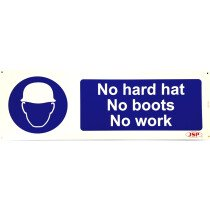 "JSP Rigid Plastic ""No Hard Hat - No Boots - No Work"" Safety Sign 600x200mm"