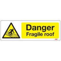 """JSP HBJ261-000-000 Rigid Plastic """"Danger Fragile Roof"""" Safety Sign 600x200mm"""