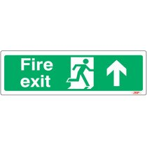 "JSP JSP106 Rigid Plastic ""Fire Exit"" Arrow Up +Running Man Safety Sign 600x200mm"