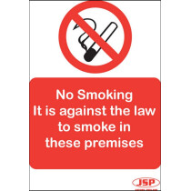 "JSP Rigid Plastic ""No Smoking -It is against the law"" Safety Sign 210x149mm"