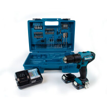 Makita HP333DWAX1 12Vmax Combi Drill CXT with 2x BL1021B Batteries, Charger, Carry Case & 74pc Accessory Set