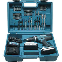 """Makita HP457DWE10 18V """"G"""" Series Combi Drill with 2x 1.3Ah Batteries and Accessory Set in Case"""