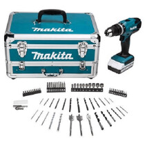 Makita HP457DWX4 18V G-Series Combi Drill with 1x 1.3Ah Battery and Accessories in Aluminium Tool Chest
