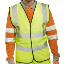 Lawson-HIS Yellow Hi Vis Vest with High Visibility Two Band and Brace (EN471 Class 2 Hi-Vis Waistcoat)