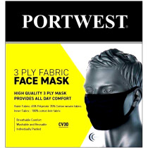 Portwest CV30 3 Ply Fabric Face Mask - Black