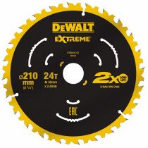 DeWalt DT20432-QZ Extreme 210 x 30mm 24T TCT Saw Blade For use on the DWE7485 DeWalt Compact Saw