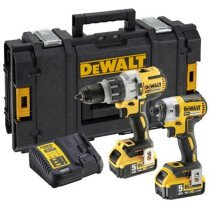 DeWalt DCK276P2-GB XR Brushless Kit DCD996 Combi Hammer and  DCF887 Impact Driver with 2 x 5.0Ah Batteries in TOUGHSYSTEM Case