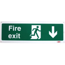 "JSP 105 Rigid Plastic ""Fire Exit"" Arrow Down +Running Man Safety Sign 600x200mm"