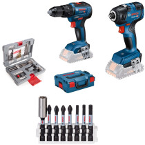 Bosch GSB18V-55 Combi Drill + GDR18V-200 Impact Driver with 8pc Bit set and 49pc Accessory Set 18V Body Only Brushless Twin Pack in L-Boxx