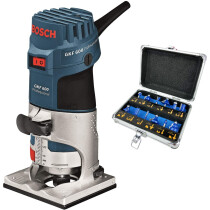 """Bosch GKF 600 110V with 12pc Router Bit Set  1/4"""" 6-8mm Professional Palm Router"""