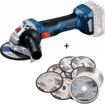 """Bosch GWS 18V- 7 115 N 18v Body Only 115mm / 4.1/2"""" BRUSHLESS Angle Grinder in Carton With 10 x 1mm Cutting Discs"""