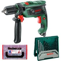 Bosch Easy Impact 550 Impact Drill 550W with Drill Bit Set & 210pc Wall Plug Set