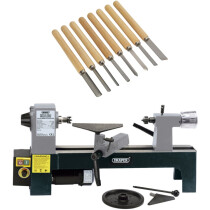 Draper 60988 WTL330A 250w 230v Variable Speed Mini Wood Lathe With 8pc Wood Turning Chisels