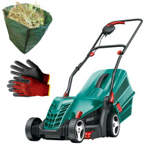Bosch Rotak 34 R with Gloves and Garden Sack 1300W 34cm Lawnmower
