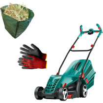Bosch ROTAK36 R Ergoflex with Gloves and Garden Sack 36cm 1400W Rotary Lawn Mower