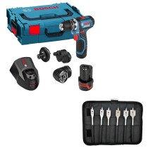 Bosch GSR 12V-15 FC + 6pc Drill Bit Set 12V Flexiclick Drill/Driver with Accessory Set and 2x 2.0Ah Batteries in L-Boxx