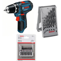 Bosch GSR 12V-15 with 7pc Drill Bit & 8pc Impact Bit Set Body Only 12V Drill/Driver in Carton