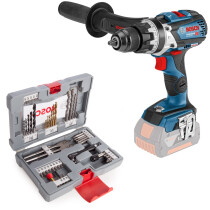 Bosch GSB 18V-85CNCG with 49pc Accessory Set Body Only 18V Brushless Combi Drill in L-Boxx - Connection Ready