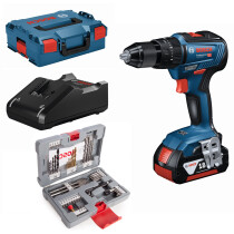 Bosch GSB 18V-55 PC2 + 49pc Accessory Set 18V Brushless 2 Speed Combi Drill with Metal Chuck 2x4.0Ah ProCORE18V in L-Boxx Connection Ready