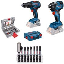 Bosch GSB18V-55 + GDR18V-200 with 8pc Bit set and 49pc Accessory Set 18V Body Only Brushless Twin Pack in L-Boxx