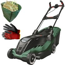 Bosch Advanced Rotak 650 1700W 41cm Lawn Mower with Gloves and Garden Sack