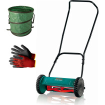 Bosch AHM 38G Push Hand Lawn Mower 38cm Cut Width with Gloves and Pop Up Garden Sack