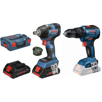 Bosch GDS 18 V-200 C 18V Brushless Impact Wrench 2x4.0Ah Procore with Bluetooth Module  in L-Boxx with GSB 18V-55 N Combi in Carton