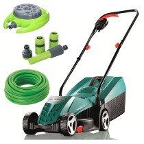 Bosch Rotak 32 R Kit 240V 1100W 32cm Lawn Mower with 15m Hose, 9 Pattern Sprinkler & 4pc Hose Connector