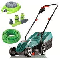 Bosch ROTAK 36 R Kit Ergoflex 36cm 1350W Rotary Lawn Mower with 15m Hose, 9 Pattern Sprinkler & 4pc Hose Connector