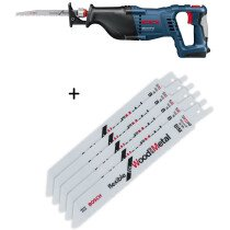 Bosch GSA18VLIN Body Only 18V Sabre Saw in Carton with 5 Blades for Wood & Metal