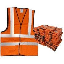 JSP Bulk Pack x 50 Hi Vis Orange Waistcoat Vest EN471.2 (Extra-Large Only)