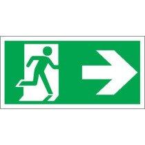 "Lawson-HIS E59ZR [CL] Rigid Plastic ""Runing Man"" Fire Exit Right Sign"