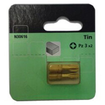 Lawson-HIS N30616 [CL] Pozi PZ3 25mm Screwdriver Bits Tin Coated (Pack Of 2)