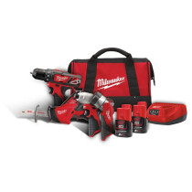 Milwaukee M12 BPP4A-202B 12V 4 Piece Power Kit with 2x 2.0Ah Batteries in Kit Bag