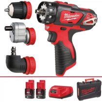 Milwaukee M12 BDDXKIT-202C 12V Compact Drill/Driver with Accessory Set and 2X 2.0Ah Batteries in Case