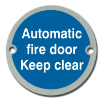 Marcus SS-SIGN001-S Satin Automatic Fire Door Keep Clear Door Sign