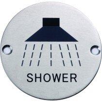 Marcus SS-SIGN005-S Satin Shower Door Sign