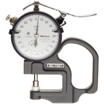 Mitutoyo 7327 Dial Thickness Gauge, Flat Anvil, Standard Type, 0-1mm Range