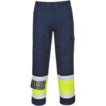 Portwest MV26 Flame Resistant Hi-Vis Modaflame Trouser - Regular Leg Length - Yellow/Navy Blue