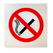 "JSP HBJ992-300-000 Self Adhesive Plastic ""No Smoking Symbol"" Safety Sign 90x90mm"