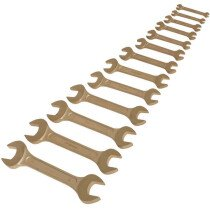 Sealey NS015 Double Open End Spanner Set 13 Piece 5.5-32mm Non-Sparking Beryllium Copper